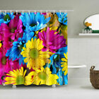 Passionate Flower Polyester Waterproof Bathroom Fabric Shower Curtain 12 Hook