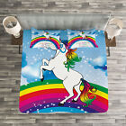 Kids Quilted Bedspread & Pillow Shams Set, Unicorn Rainbow Fantasy Print image