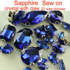 Sapphire foiled glass sew on D/ear claws crystal drop/square/navette rhinestones