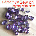 Lt violet faceted glass sew on D/ear claws crystal drop/oval/navette rhinestones