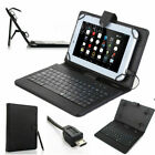 "Black For 7.0"" -8.0"" inch Tablet PU LeatherStand Case Cover With USB Keyboard US"