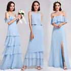Ever-pretty Sky Blue Long Homecoming Dress Beach Dresses Bridesmaid Ball V Neck