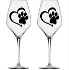 Paw Print  Heart Dog Cat Vinyl Decal Wine Glass Mugs Crafts Cards Stickers