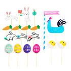 19pcs Easter Carrot Chicken Cake Picks Supplies for Party Birthday Easter Favors