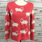 POL Sweater Womens Sz Small Sheep Print White Novelty Cotton Acrylic Red Scarves