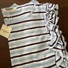 New Free Generation LA Top Sz M Cotton Blend Ruffles Neiman Marcus Tag Stripes