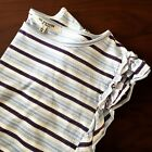 New Free Generation LA Top Sz L Cotton Blend Ruffles Neiman Marcus Tag Stripes