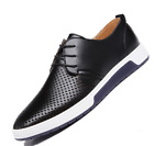 New Men's Casual Genuine Leather Shoes Lace-up Sneakers Oxford Breathable Shoes