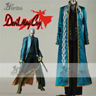 Devil May Cry 3 Vergil Virgil Cosplay Costume Juvenile Black Pants Blue Coat