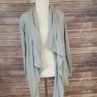Cabi Tee Shirt Topper Size L Long Sleeve Open Front Cotton Gray Cover Up #332