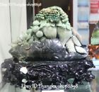 """13"""" Chinese Natural Dushan Jade Carving Leaf Grape Ginseng Bitter Gourd Statue"""