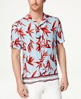 INC International Concepts Mens Hani Floral Camp Shirt Blue Combo