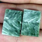17.50Cts ~MATCH PAIR~ NATURAL GREEN SERAPHINITE OCTAGON CABOCHON LOOSE GEMSTONE