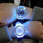 US Women Men Wrist Watch Sport Silicone LED Backlight Crystal Quartz Watch  image