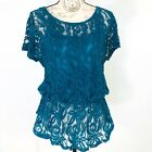 Antropologie Pins and Needles Womens Size M Peplum Top Floral Lace Teal