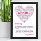 Personalised MUMMY MUM NANNY NAN Love You Birthday Christmas Poem Gifts for Her