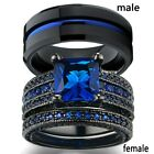 sz6-12 Couple Rings Titanium Steel Mens Ring Sapphire Women's Wedding Ring Sets image
