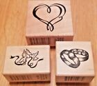 Wedding Day Rings Doves Marriage Craft Scrapbook by PSX Lot 3 Rubber Stamps