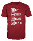Eat Sleep Darts Repeat Funny Bar Sport Pool Snooker WDF T-shirt
