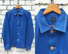 60s Style French Cobalt Blue Cotton Twill Canvas Chore Jacket - Various Sizes