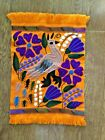 "Vintage Embroidered Mexican Bird Wall Hanging Table Mat Etc.. 21"" x 14"" Orange"