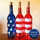 Patriotic Wine Bottles With or Without Twinkle Fairy Lights Powered From Cork