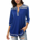 Womens V-Neck Tops Printed Blouse Long Sleeve Tee Loose Pullover Summer Clothing