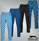 Mens Branded Slazenger Standard Fit Stylish Print Golf Trousers Size Waist 32-40