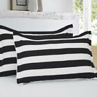 Soft Microfiber Decorative Pilow Shams, Black and White Stripe Pattern, 4-Pack image