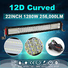 12D 4Row 22inch 1280W LED Work Curved Light Bar Spot Flood Driving Offroad Truck