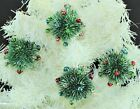 Vintage Christmas Tree Ornaments Glass Bulbs Beads Red Green Blue Silver (218)