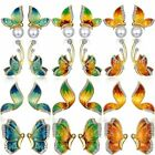 Retro Women Flying Butterfly Crystal Rhinestone Earrings Stud Pearl Charm Gift