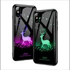 For iPhone Xs Xs Max XR Luxury Luminous Shockproof Tempered Glass Case Cover