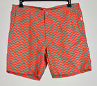 Onia Men's Orange Gray Calder Graphic Print Swim Trunks Shorts 36