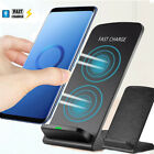 US 10W Wireless Fast Charger Leather LED Stand Dock Holder Cable For Samsung S10