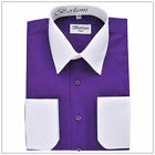 BERLIONI ITALY SHIRTS CONVERTIBLE CUFFS MENS TWO TONE DRESS SHIRT <br/> !!!   BERLIONI ITALY TWO TONE DRESS SHIRTS  !!!
