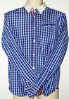 Cool Mens Ted Baker Blue Check Shirt Size 3 Medium White Collar Red Check Areas