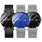 Mens Analog Quartz Watch Thin Waterproof Business Stainless Steel Band Dress US image