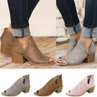 Womens Low Heel Peep Toe Zipper Hollow Ankle Thick Heel Roman Shoes Boot 3Colors