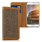 CASE WALLET STYLE DONNA FOR Samsung Galaxy S5 S5 Neo Brown COVER FLIP TWEED BAG