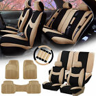 Car SUV Seat covers for Auto w/ Accessories, Beige Floor Mats 12 Color Options