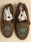 Vintage Native American Leather Deer Skin Child's Beaded Moccasins Shoes Size. 6