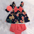 US Newborn Baby Girl Summer Clothes Flower Tops Dress Short Pants 2PCS Outfits