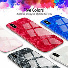i Phone X 8 Plus XS Max XR Case Marble Tempered Glass Slim Shockproof Hard Cover