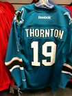 Reebok Authentic NHL Jersey San Jose Sharks Stitched Lettering Joe Thornton Teal $89.99 USD on eBay
