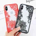 For i Phone XS Max 6 7 X Slim Flower Pattern Acrylic Shockproof Lace Case Cover