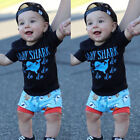 US Summer Toddler Boy Baby Shark Do Do Outfits Top Shirt+Short Pants Clothes Set