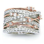 Exquisite White Sapphire Rose gold Silver Cross Tow-Tone Wedding Rings size 5
