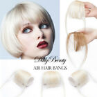 Clip In Human Hair Bangs Blonde Light Thin Air Fringe Neat Beautiful Temples US