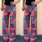 Womens Summer Flared Palazzo Trousers Wide Leg High Waist Loose Harem Yoga Pants